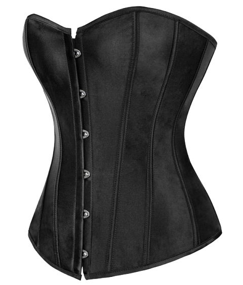 Black Corset With Front Busk Closure
