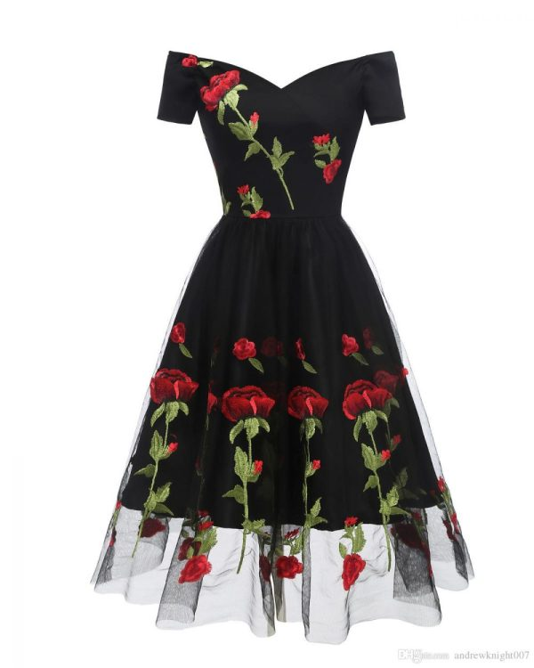 black off shoulder vintage dress embroidered red roses
