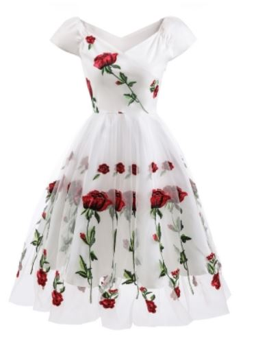 White vintage dress embroidered red roses