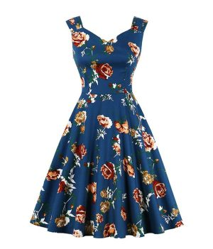 1950S retro floral swing dress