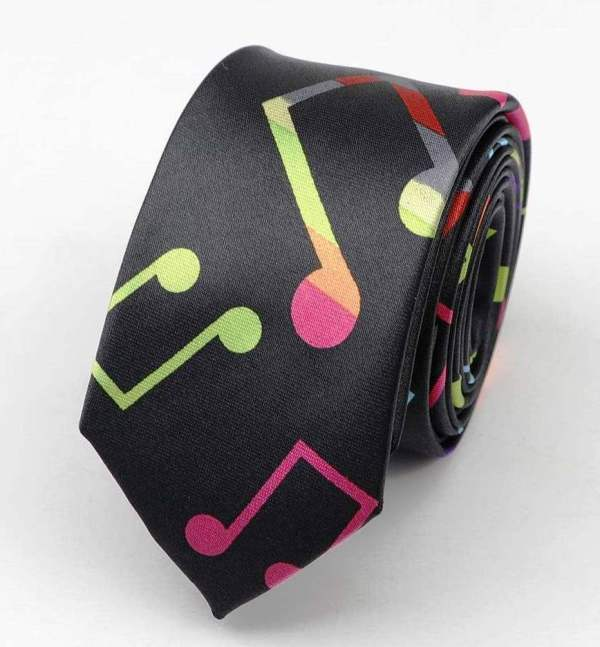 Colourful music notes mens neck tie