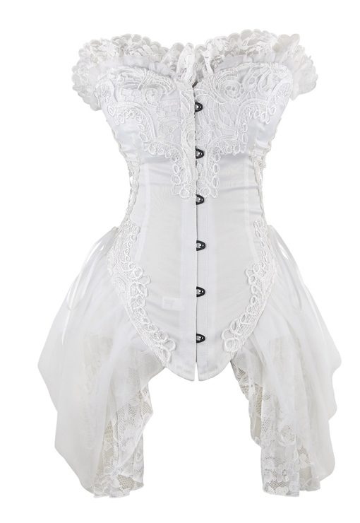White Ivory Burlesque Gothic Corset Floral Embroidered Lace Trim side skirts