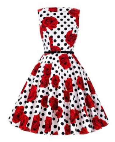 Floral Rose & Polka Dot Retro Vintage Dress