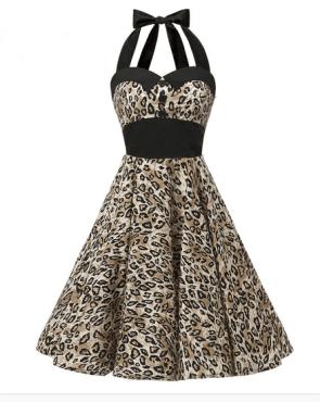 Leopard Print Halter Neck Retro Rockabilly Swing Dress