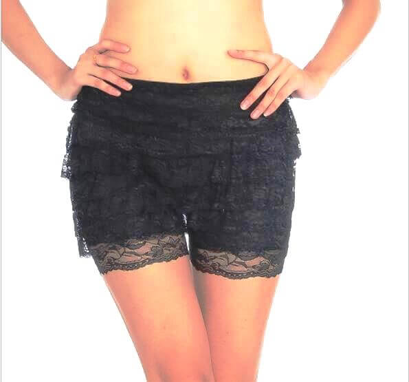 Black Burlesque Ruffle Lace Dance Booty Shorts Knickers