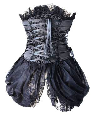 Black Gothic Burlesque Corset Floral Embroidered Lace Trim & Side Skirts