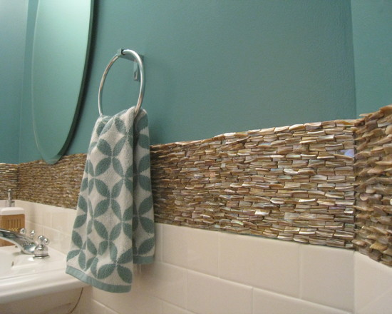 Transitional Eclectic (Tropical Powder Room Chicago)