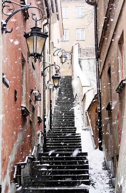 Snowy Day, Warsaw, Poland