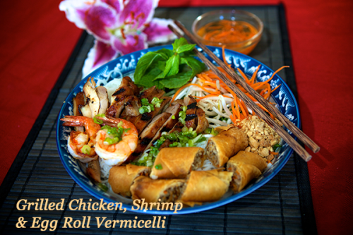 Grilled Chicken, Shrimp, and Egg Roll Vermicelli