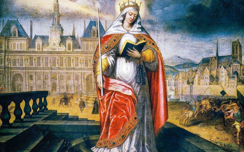 Portrait de Geneviève, sainte patronne de Paris, devant l'hôtel de ville et l'île de la Cité, peint au XVIIe siècle.