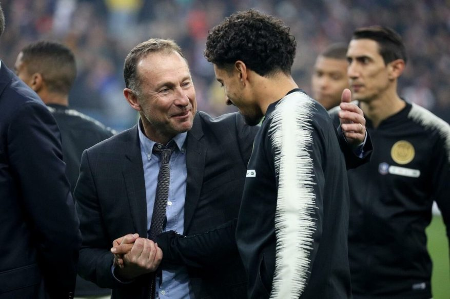 Jean-Pierre Papin and Marquinhos during the final of the Coupe de France 2019 between Rennes and PSG.  LP / FD