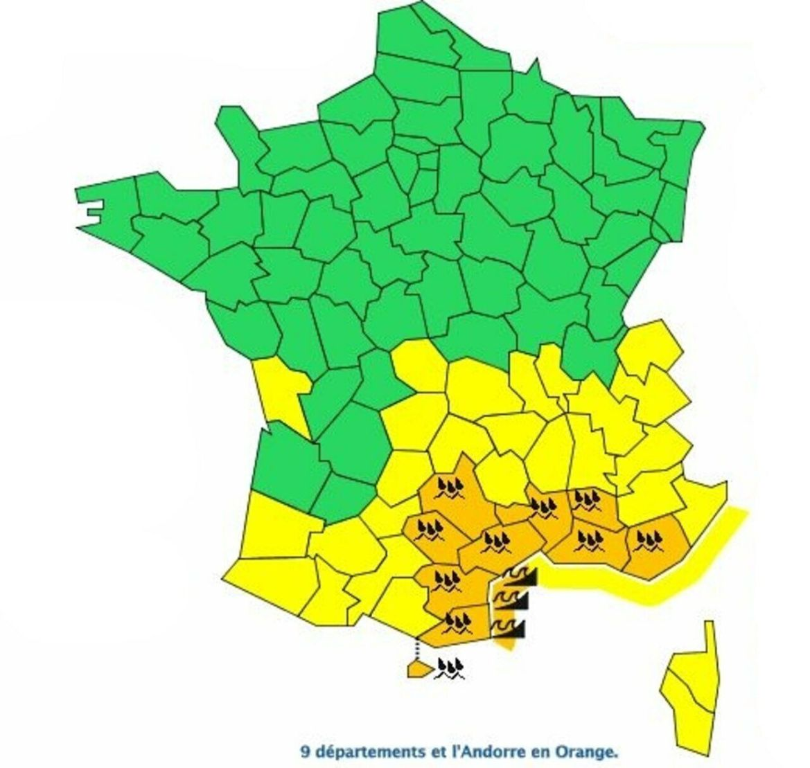 La carte de vigilance ce mercredi à 6 heures. Météo France
