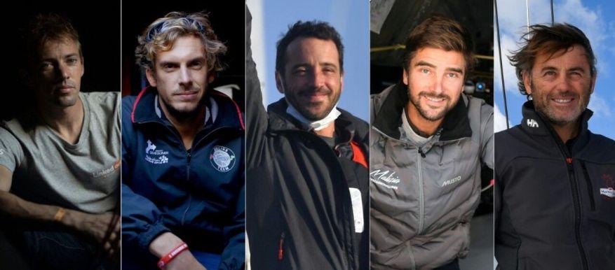 Thomas Rouillard, Charlie Dalin, Louis Burton, Boris Herrman and Yannick Bestaven // DAMIEN MEYER, Loic VENANCE / AFP