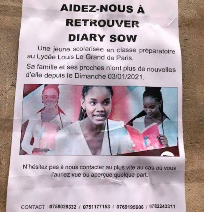 Since January 4, Diary Sow, a 20-year-old Senegalese woman, has not given any sign of life./LP/Ronan Folgoas