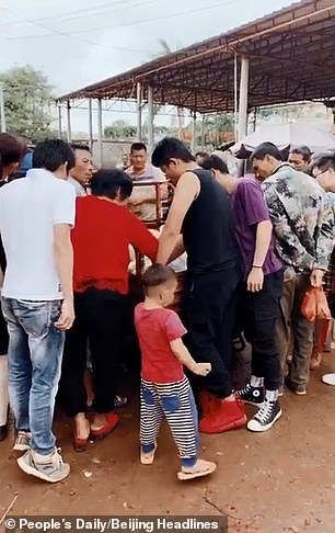 A crowd gather around thefinless porpoise which is placed at the back of a tricycle