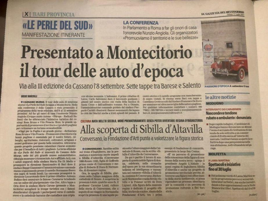 """Presentato a Montecitorio l'evento """"LE PERLE DEL SUD"""" Via alla III edizione dell'evento che spazierà dal barese al Salento"""