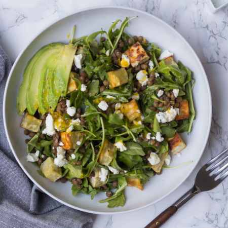 Lentil Arugula Salad with Meyer Lemon Vinaigrette