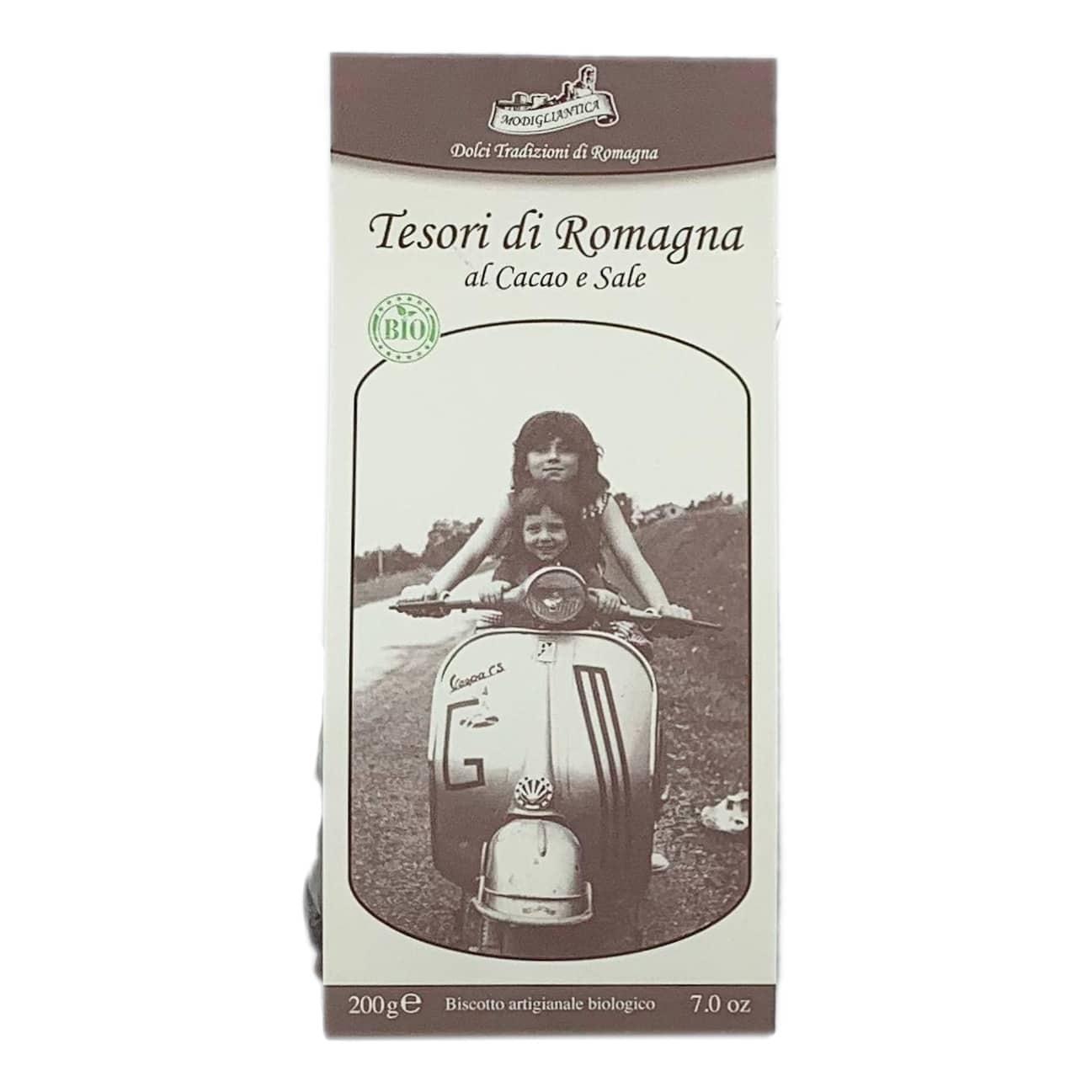TESORI DI ROMAGNA AL CACAO E SALE Biscotti Artigianali BIO Modigliantica - prodotti tipici romagnoli