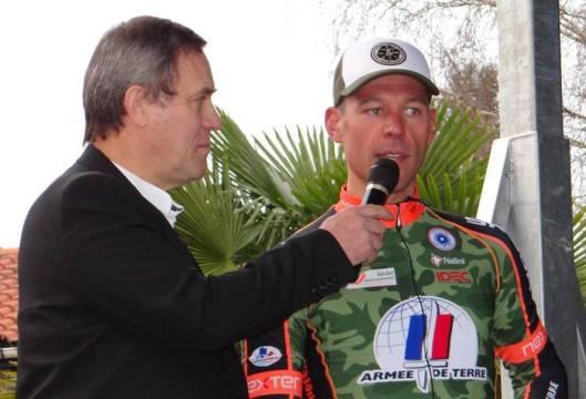 Gilles Girardot avec le coureur Stéphane Poulhiès