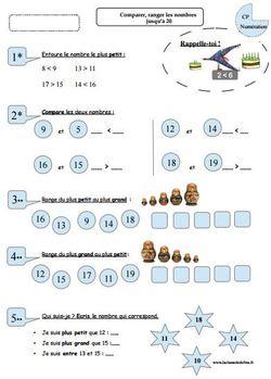 Comparer, ranger des nombres de 0 à 20