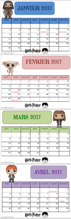 Calendrier scolaire 2016 2017 Harry potter