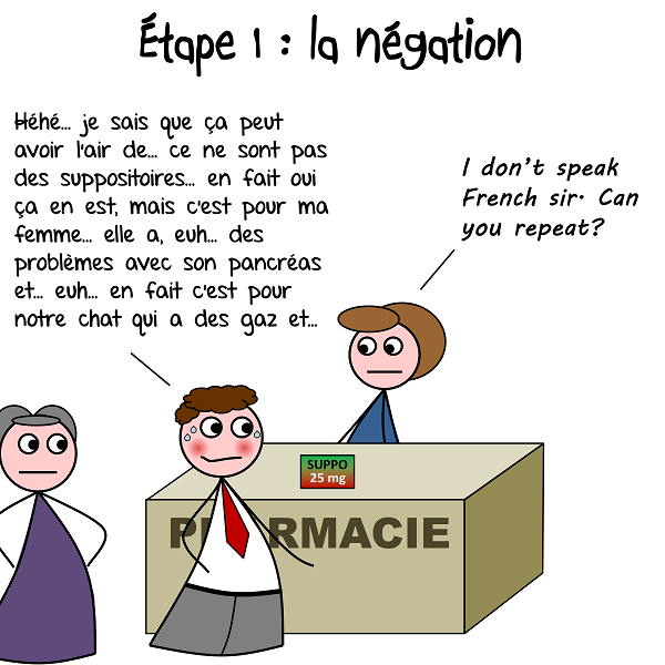 L'homme invente des excuses en achetant des suppositoires à la pharmacie