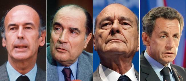 Valéry Giscard d'Estaing, François Mitterrand, Jacques Chirac et Nicolas Sarkozy, présidents de la République française.