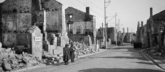 Les ruines d'Oradour-sur-Glane. Photo non datée.