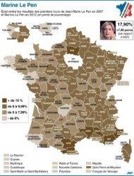 Ecart des résultats des premiers tours de la présidentielle en 2007 et 2012 (130 x 170 mm)