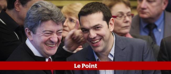 Alexis Tsipras à Paris, lundi, en compagnie de Jean-Luc Mélenchon, lors de leur conférence de presse commune.