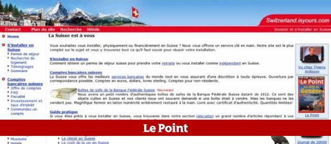 Capture d'écran du site de l'ambassade de France en Suisse.