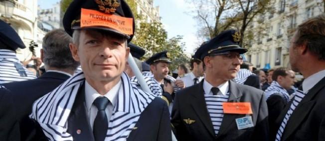 Des pilotes en grève le 23 septembre 2014.