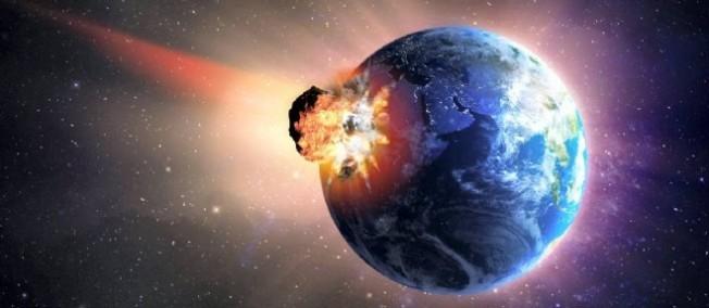 Représentation d'un astéroïde heurtant la Terre.