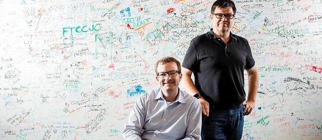 Mike Schroepfer, CTO Facebook, et Yann LeCun dans les bureaux de Facebook France dans le 17e arrondissement de Paris.