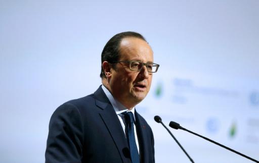 François Hollande à la tribune de la COP21 le 30 novembre 2015 au Bourget © THIBAULT CAMUS POOL/AFP
