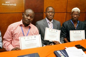 Les trois conseillers de la mairie de Kaniasso, bénéficiaires de cette formation (Ph; Dr)