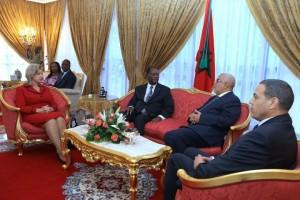Arrivée du Président de la République, S.E.M. Alassane Ouattara, et de son épouse, Madame Dominique Ouattara en vue de prendre part à la 9ème édition du Forum pour le développement de l`Afrique, organisée en collaboration avec la Commission Economique des Nations Unies pour l`Afrique (CEA). (Ph :Dr)