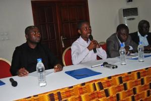Guillaume Gbato, interviewé par la RTI -Radiodiffusion Télévision Ivoirienne - lors d'une activité syndicale à Abidjan (Ph:Dr)