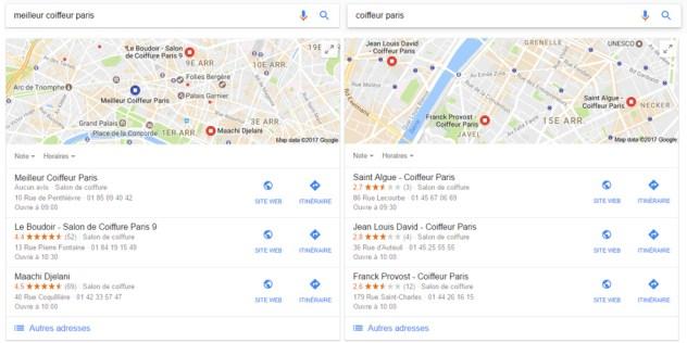 exemple classement Google my Business