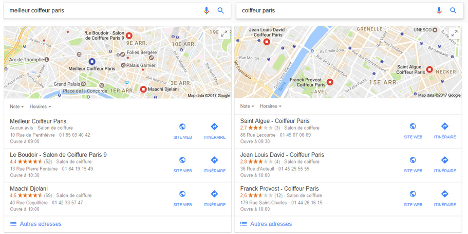 exemple classement Google my Business