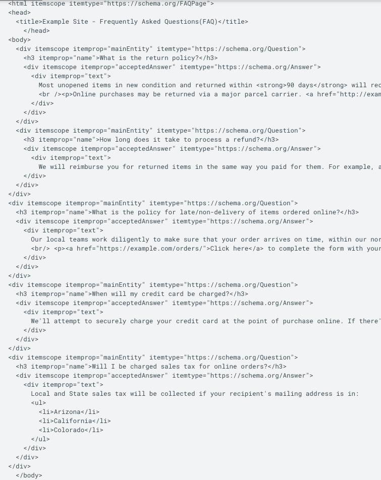 example code faq seo micro data
