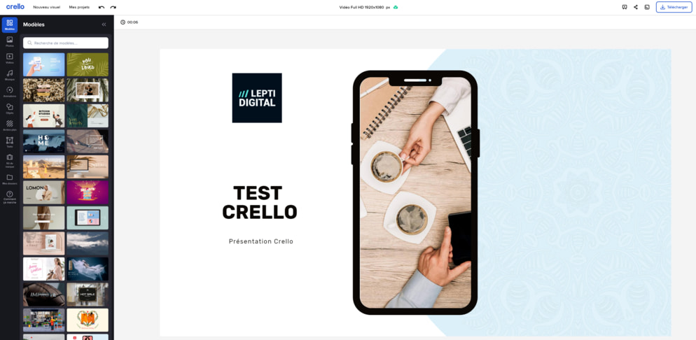 Overview of the Crello creation tool
