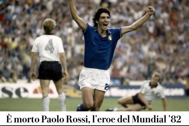 La une numérique du quotidien La Repubblica, jeudi: «Paolo Rossi, le héros du Mondial 82, est mort». (DR)