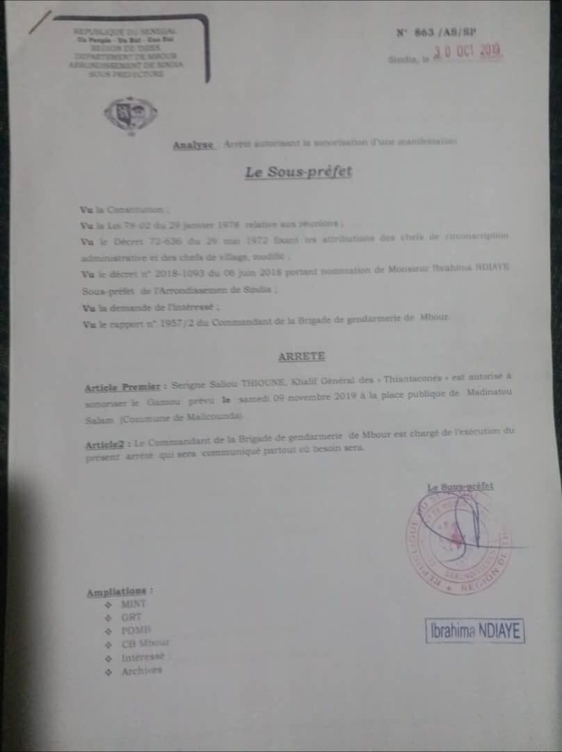 Médinatoul Salam: Le Sous préfet autorise la célébration du Gamou.