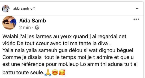 Coumba Gawlo Seck craque et fond en larmes: Voici le message émouvant de soutien de Aïda Samb (Photos et vidéo)