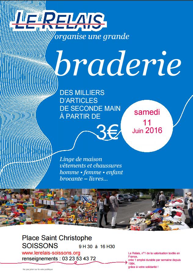 Le Relais Soissons : Braderie 11 juin 2016
