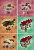 Exemple de bâtiments : bâtiments de départ (rose), en bois (marron) et de résidence (vert)