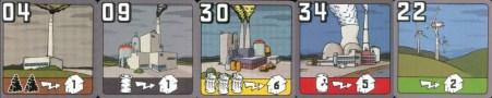 Les centrales. (de gauche à droite, charbon, pétrole, déchets, nucléaire, écologique)