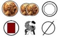 Les symboles sont les suivants : 1 ou 2 drachmes, 1 ressource, 1 carte Héros, 1 déplacement de monstre ou rien du tout