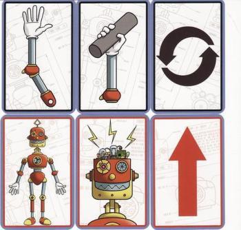 Cartes télécommande : le bras permet de préciser qu'elle partie on souhaite faire bouger, le robot doit prendre un objet, mouvement de rotation, un corps entier pour montrer qu elle partie du corps bouger, pour dire au robot de réfléchir et enfin une carte permetant le déplacement.